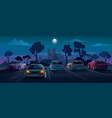 cars at parking lot night city street background vector image