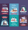 christmas card with forest winter house by night vector image vector image