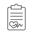 clipboard report healthy heartbeat line icon vector image