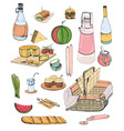 collection of picnic food or content of wicker vector image vector image