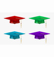 colored college caps set university graduation vector image