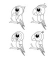 colorless set of different cartoon parrots exotic vector image vector image