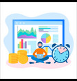 concept of online business time management vector image vector image
