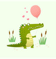 cute crocodile holding a balloon vector image vector image