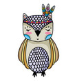 cute owl animal with feathers design vector image