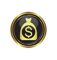 dollar in bag icon button gold copy vector image vector image