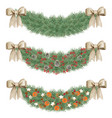 elegant watercolor seamless tileable pine dividers vector image vector image