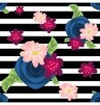 Flower pattern on striped black and white vector image vector image