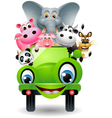 funny animal cartoon in green car vector image vector image