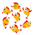 golden yellow fish characters with human face vector image vector image