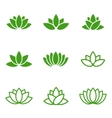 green lotus icons set on white background vector image vector image