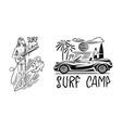 guy with a guitar surf badge vintage surfer logo vector image vector image