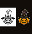 halloween pumpkin in witch hat two styles vector image