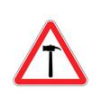 hammer warning sign red repair hazard attention vector image vector image