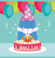 happy birthday girl with party hat cake balloons vector image