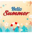 hello summer sand starfish life ring shell backgro vector image vector image