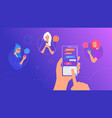human hand holds smart phone with messenger app vector image