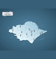 isometric 3d ivory coast map concept vector image