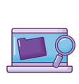 laptop with folder and magnifying glass vector image vector image