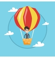 Man flying in hot air balloon vector image vector image