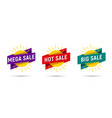 mega hot big sale label tags on sun with ribbon vector image