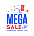 mega sale word shop now type vector image vector image