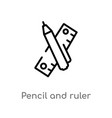 outline pencil and ruler icon isolated black vector image vector image