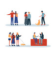 people and pets daily lifestyle activity isolated vector image