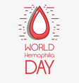 red blood drop symbol to hemophia day vector image vector image