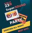 retro party poster music night 90s dance time vector image