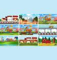 set different landscape vector image vector image