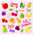 set of cute fruits in the form of a retro patches vector image vector image