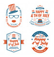 set vintage 4th july design fourth july vector image vector image