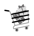 shopping cart online boxes gift presents gray vector image