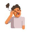 smoking unhealthy looking male person vector image