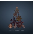 Stylized snowflakes Christmas tree silhouette vector image
