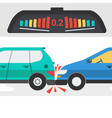 two cars in accident and warning signal vector image