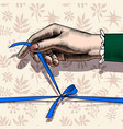 womans hand untying bow of blue ribbon vector image vector image