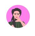 young woman profile avatar beautiful girl face