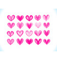 colorful watercolor pink hearts se vector image