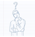 Businessman with question mark above his head vector image