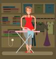 homemaker is ironing vector image