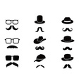 Invisible man with mustache glasses and hats vector image