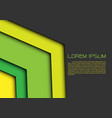 abstract green yellow arrow on gray blank vector image