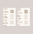 bundle flyer templates with fish and place for vector image