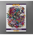 Cartoon hand-drawn doodles Musical poster vector image vector image