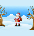 cartoon santa claus standing in the snow with a ba vector image vector image