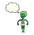 cartoon zombie monster woman with thought bubble vector image vector image
