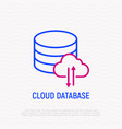 cloud database thin line icon vector image vector image