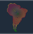 colorful south america made by strokes vector image